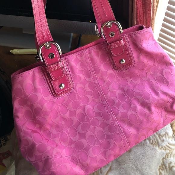 Coach Handbags - Large pink tote bag